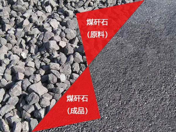 煤矸石破碎前后对比图
