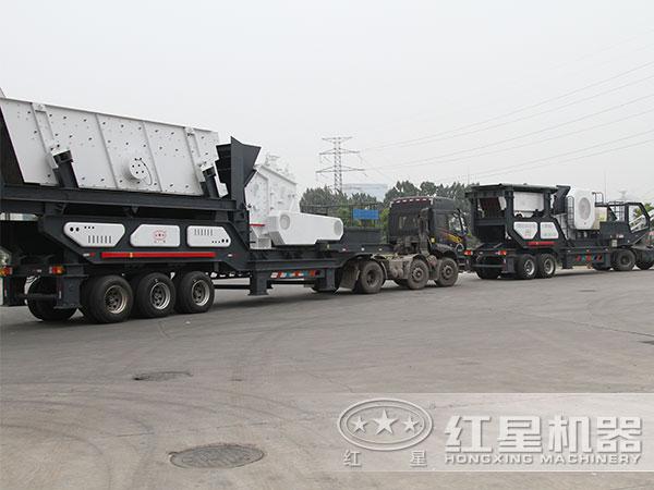 煤矸石轮胎式移动破碎机发货