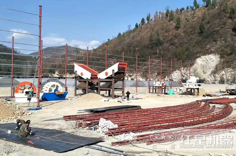 山西客户碎石粉沙厂正在建设