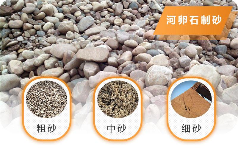 河卵石制砂多种粒形,成品质量好