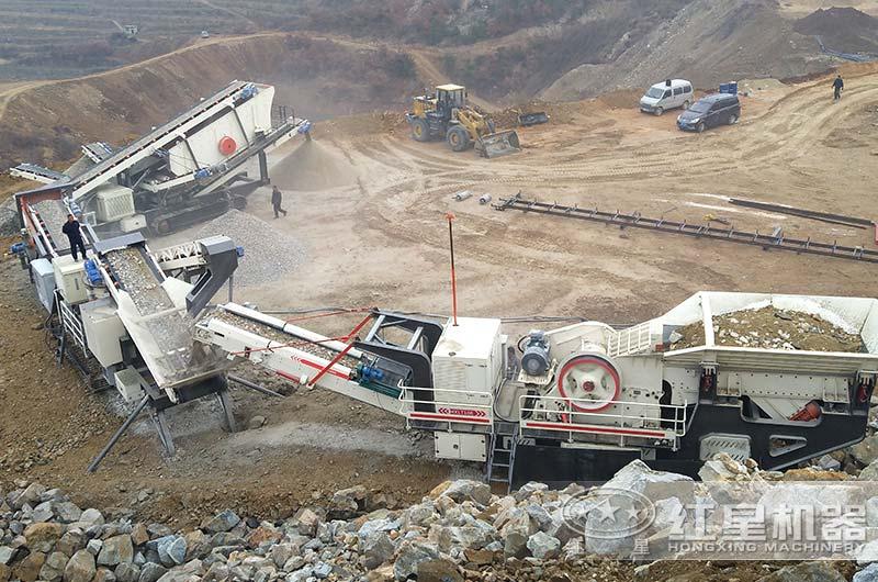 加工石头的机器作业现场图片