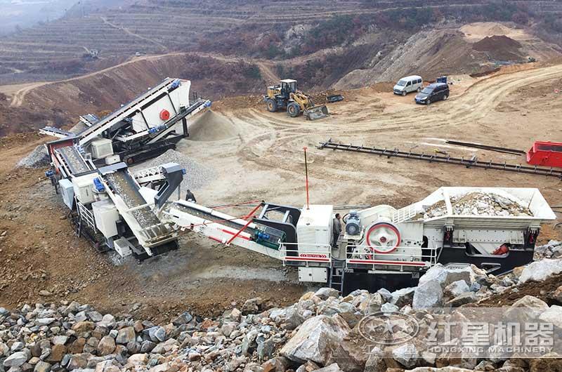 时产300吨砂石细碎生产线作业现场图片