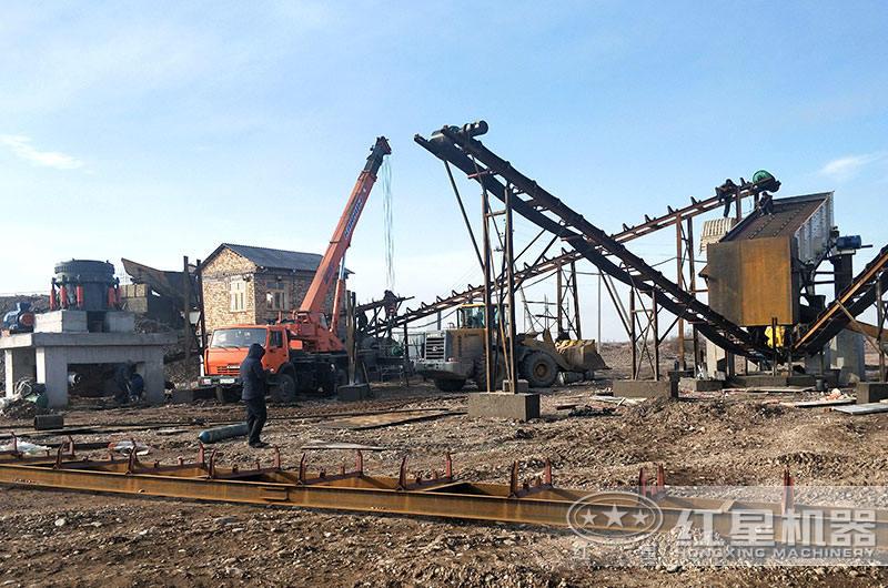 花岗岩石子生产线时产200吨现场
