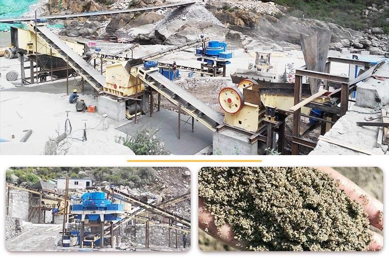 河南某地河卵石制砂机工作现场及出料成品