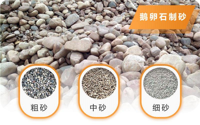 鹅卵石破碎成不同规格