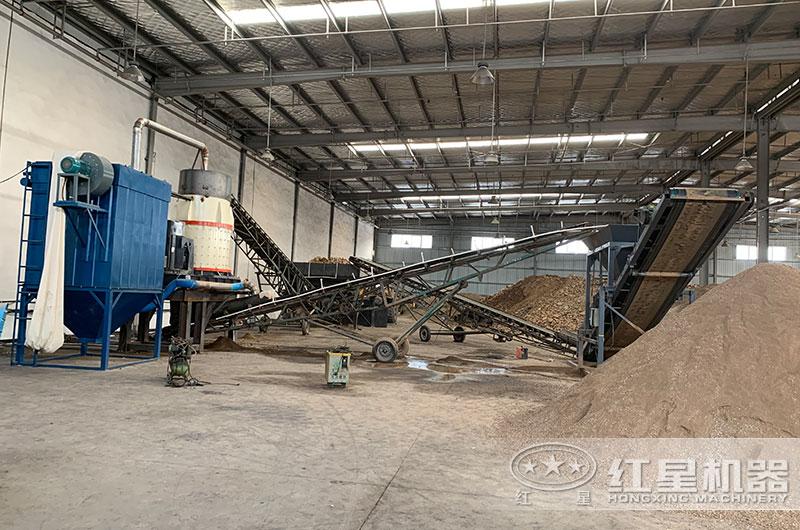 山东立式复合破碎机生产现场,封闭厂房,绿色环保