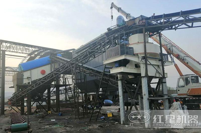 保定曲阳一小时300-500吨打沙机生产现场
